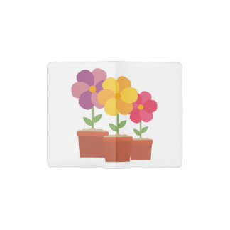 Three colorful Flowers Zo728 Pocket Moleskine Notebook
