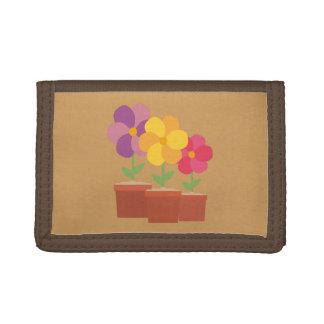 Three colorful Flowers Zo728 Tri-fold Wallets