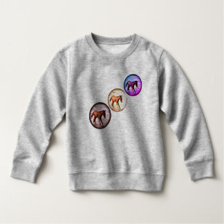 Three Colorful Foals in the ocean, playful cute Sweatshirt