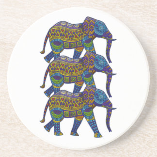 Three Colorful Mosaic Elephants Coaster