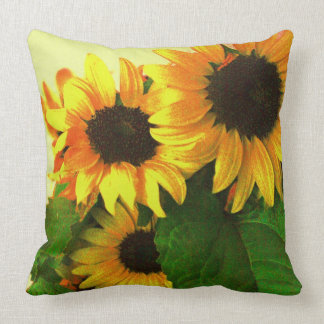 Three colorful yellow sunflowers throw pillow