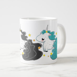 Three colors of cartoon unicorns with stars Jumbo Jumbo Mug