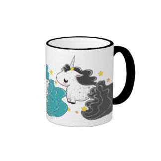 three colors of cartoon unicorns with stars mug