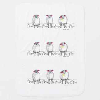 Three Cornish Mommy Sheep Feeding Their Babies Receiving Blankets