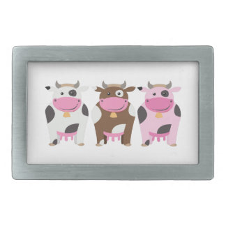 Three Cows Rectangular Belt Buckle