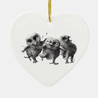 Three Crazy but Cunning Owls Ceramic Ornament