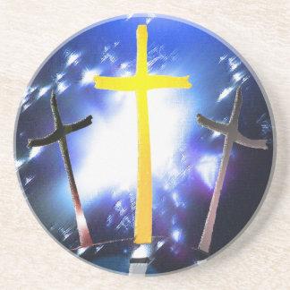 Three Crosses At Calvary Sandstone Coaster
