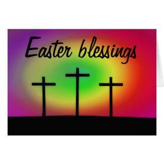 Three Crosses Easter Blessings Card