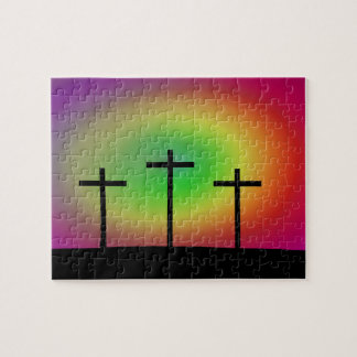 Three crosses glow jigsaw puzzle