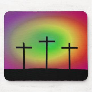 Three crosses glow mouse pad