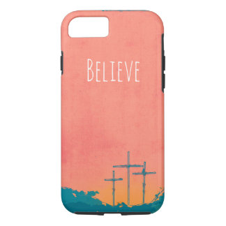 Three Crosses in Coral & Blue iPhone 8/7 Case