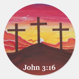 Three Crosses Jesus Christ salvation Christian Art Round Sticker
