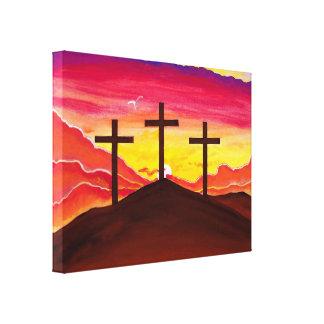 Three Crosses of Christ Crucifixion Art on Canvas Canvas Print