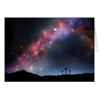 Three Crosses on a Hillside under the Milky Way Card