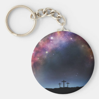 Three Crosses on a Hillside under the Milky Way Key Ring