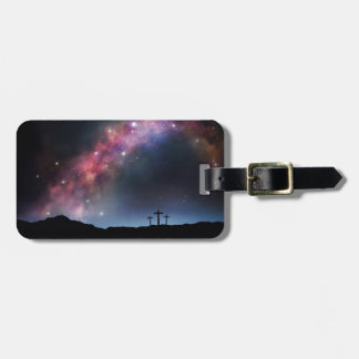 Three Crosses on a Hillside under the Milky Way Luggage Tag