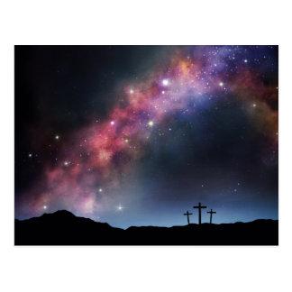 Three Crosses on a Hillside under the Milky Way Postcard