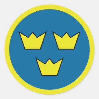 Three Crowns Swedish Emblem Round Sticker