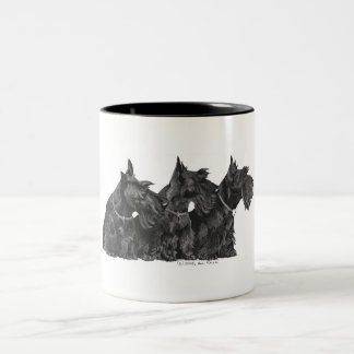 Three Curious Scottish Terriers Two-Tone Coffee Mug