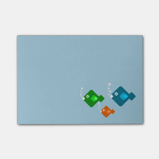 Three Cute and Colorful 8-bit Fish Swimming Post-it Notes