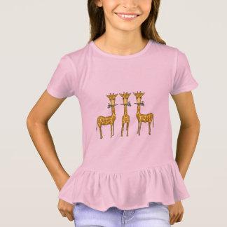 Three Cute  Giraffes Girls Ruffled Tee