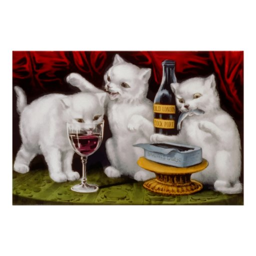 Three cute kittens dinner party poster