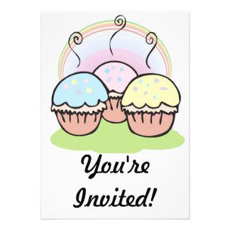three cute little cupcakes invites