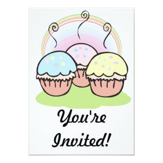 three cute little cupcakes 13 cm x 18 cm invitation card