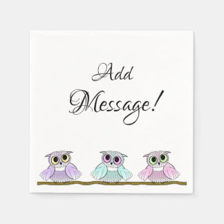Three Cute Owls Add Message Paper Napkin