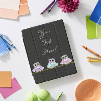 Three Cute Owls Add Text iPad Cover