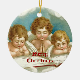 Three cute praying angels ornaments