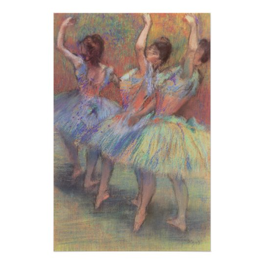 Three Dancers by Edgar Degas, Vintage Ballet Art Poster