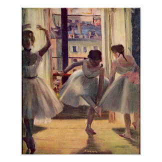 Three dancers in a practice room by Edgar Degas Poster