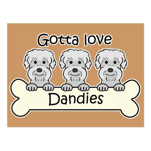 Three Dandie Dinmont Terriers Postcard