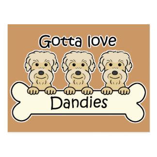 Three Dandie Dinmont Terriers Postcards