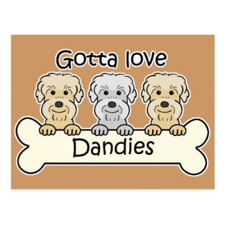 Three Dandie Dinmont Terriers Post Card