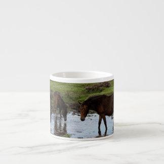 Three Dartmoor Ponies Drinking At Watering Hole Espresso Mug
