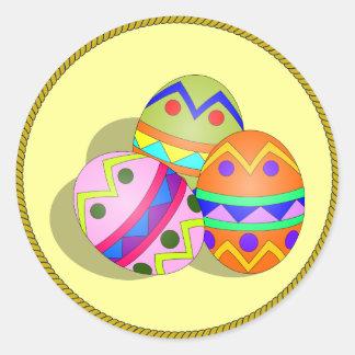Three Decorated Easter Eggs, custom design Classic Round Sticker
