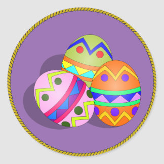 Three Decorated Easter Eggs, purple background Round Sticker