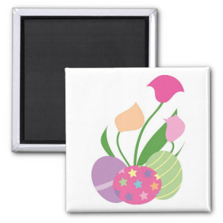 Three Decorative Eggs with Flowers Square Magnet