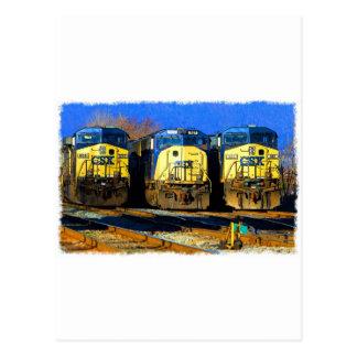 Three Diesel Locomotives Postcard
