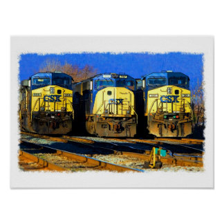 Three Diesel Locomotives Poster