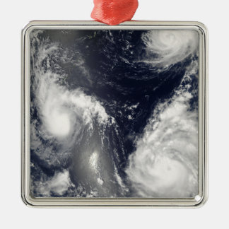 Three different typhoons metal ornament
