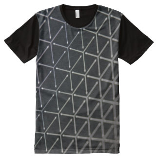 Three Dimensional Cube Pattern All-Over Print T-Shirt