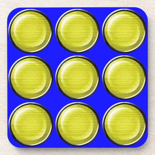 THREE DIMENSIONAL YELLOW POLKADOTS CIRCLES BUTTONS DRINK COASTERS