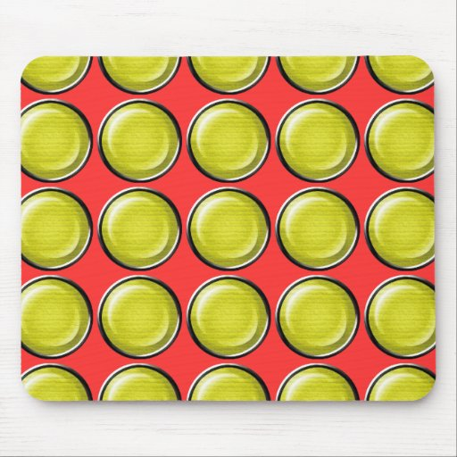 THREE DIMENSIONAL YELLOW POLKADOTS CIRCLES BUTTONS MOUSE PADS