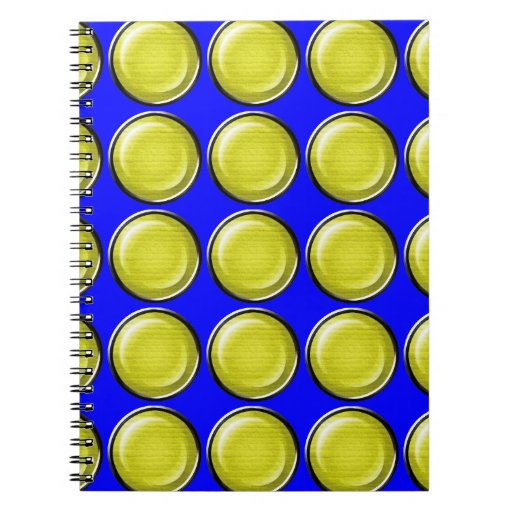 THREE DIMENSIONAL YELLOW POLKADOTS CIRCLES BUTTONS NOTE BOOKS