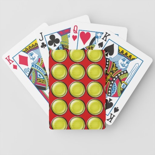 THREE DIMENSIONAL YELLOW POLKADOTS CIRCLES BUTTONS BICYCLE POKER CARDS