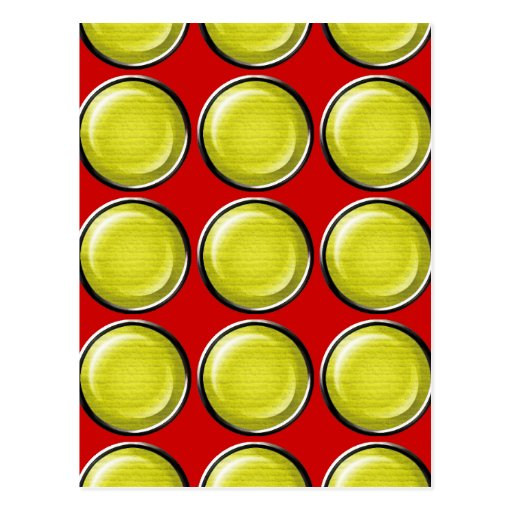 THREE DIMENSIONAL YELLOW POLKADOTS CIRCLES BUTTONS POSTCARDS