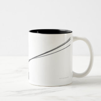 Three Dobermans on leash Two-Tone Coffee Mug